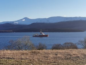 The RSS Sir David Attenborough sails along the Morvern coast. Photograph: Kyle Mealand. NO F08 polar ship 01