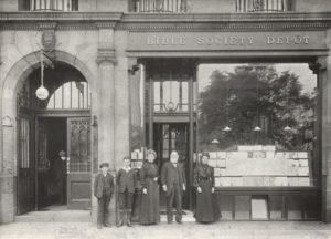 Bible 'shop' workers at Edinburgh's Bible House in the late 19th century.