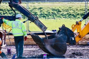 The first concrete being poured at the site. Photograph: Kenny Craig.