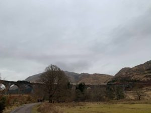 The train pictured halted on the Glenfinnan Viaduct where it spent Saturday night. NO F11 Diesel train parked on Glenfinnan Viaduct