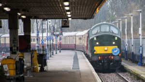 The special train belonging to Jeremy Hosking pulls into Fort William station. Photograph: Iain Ferguson, The Write Image. NO F11 Hosking Special Train.jpg 01