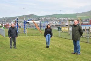 From left: Campbeltown Community Council chairman Alan Baker, mother-of-two Iona MacLean and Councillor Donald Kelly.