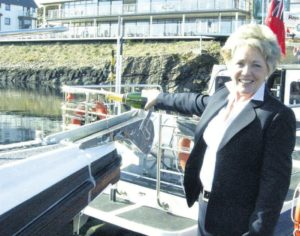 In 2011: Campbeltown has Irish ferries once again with the launch of passenger services to Troon and Ballycastle by Kintyre Express, a division of West Coast Motors. Jennifer Craig names Kintyre Express II with the liberal application of champagne.