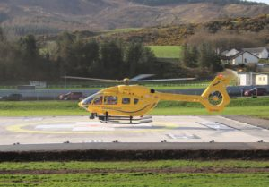The first helicopter to land at the Robert Black Memorial Helipad, the Scottish Ambulance Service's Helimed 5. Photograph: Kenny Craig.