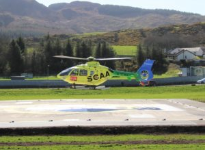 Helimed 76, a EC135 helicopter from Scotland's Charity Air Ambulance (SCAA), was the second aircraft to touch down at the helipad.
