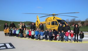 Children from local nursery settings were able to explore the new helipad.