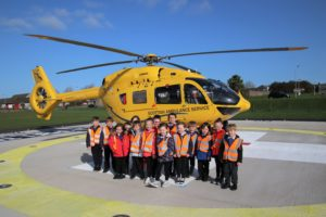 The children were able to see the helicopter at close quarters.