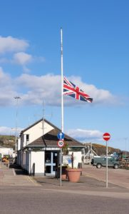 The Union Flag at the head of Campbeltown's Old Quay has been flown at half mast since news of Prince Philip's death was announced.