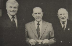 In 1996: Major Hamish Clark presented George McIntyre, centre, with a quaich for his composition of a march to commemorate the Battle of Longstop Hill, photographed with Major Duncan McMillan, who won the Military Medal at the battle.