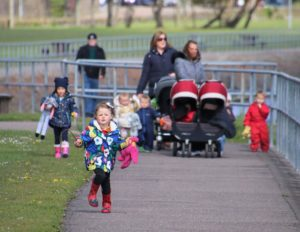The children from Sarah Mckeown and Carol Linfield's childminding settings walked from Campbeltown Ferry Terminal to the former paddling pool.