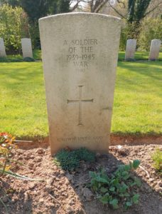 The gravesite of the unknown St Valéry soldier, presumed to be Len Scott Keller, at the Franco-British military cemetery in St Valery-en-Caux.