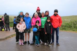 Lindsay Ramsay, wearing the green Macmillan Cancer Support top, was supported by her family on the day.