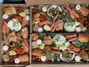 People are being encouraged to have 'eat the view' picnics. This picnic platter was made byThe Tobermory Fish Company.