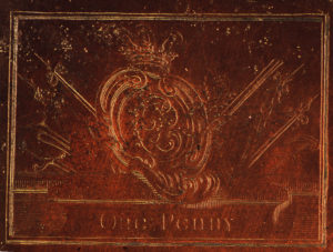 A close-up of the copper plate commissioned by Bonnie Prince Charlie. NO F26 Copper plate close up