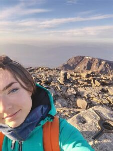 Sarah Buick, pictured at the summit of Ben Nevis early on Tuesday morning, has not been seen or heard from since her climb of the mountain. NO F26 Sarah Buick