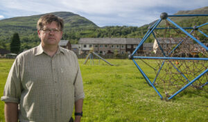 Councillor Andrew Baxter, pictured in the Lovat Road play park, which is at the centre of a row over housing. Photograph: Iain Ferguson, alba.photos NO F27 Kinlochleven playpark 03