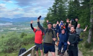 See David senior and David junior approaching the top of Ben Nevis was a proud moment for everyone involved. Photograph: JAPES.