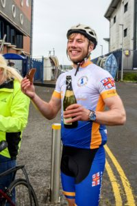 The aspiring endurance and adventure athlete enjoyed some well-earned treats at the finish line.
