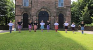 The dancers performed a Highland fling at the finish line.Photograph: Kenny Craig.