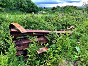 The cattle grid which is on the roadside on Gigha.