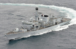 HMS Argyll turning at speed in 2014 before Sea Ceptor was installed. Photograph: Royal Navy.