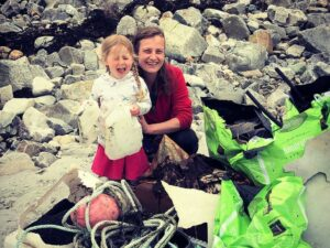 Christina Saunders and her daughter Robin Solomon during a beach clean.