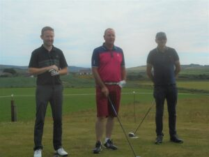 Alistair McConnachie, Donald MacNeil and George MacMillan, the three main contenders, on the first tee.
