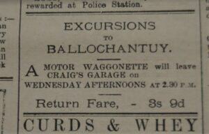 In 1921: On Wednesdays, which were often a half-days, especially for shops where workers were expected to work all day Saturday, Craig's Garage offered excursions to Bellochantuy.