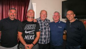 The four ex-Rangers stars, with Dick McFadzean, centre, attended a social event in the evening. From left: Charlie Miller, Derek Ferguson, Ian Durrant and Alex Rae. Photograph: Kenny Craig.
