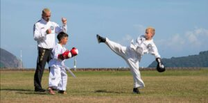 Taekwondo instructor Sean Grady, left, is passionate about the martial art.