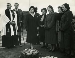 Margaret Harvey, third from right, with other No 4 Commando widows meeting the Queen Mother, fifth from right, at the unveiling of Commando Memorial in 1952, as Lord Lovat, in kilt, looks on. NO F32 commando widows with QM