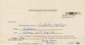 Robert's invite from the Scottish Amateur League to the 1971 Campbeltown football match.
