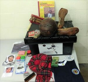 An example of the items included in a football memories box.