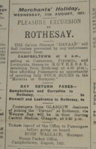 A hundred years ago we were all staycationers and a trip to the very up-market resort of Rothesay on the Isle of Bute was a day to remember – so posh in fact that in 1921 it was known as the 'Madeira of Scotland'.