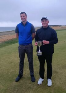 Winner of the AGA Champion of Champions, Jack McNally with runner up Ewan McKinnon.