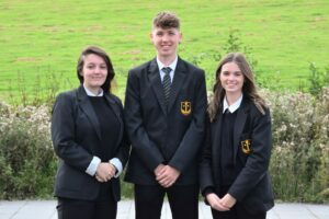 School captain Euan Dott, centre, with vice captains Beth MacPherson, left, and Erin Soudan.