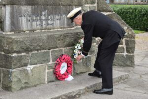 John Manning places his wreath at the foot of Campbeltown War Memorial on Merchant Navy Day.
