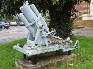 A very rare minenwerfer is on display outside the heritage centre.