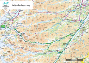 The map showing the size of the area to be rewilded over the next 30 years. Photograph: Trees for Life. NO F40 Affric Highlands boundary map