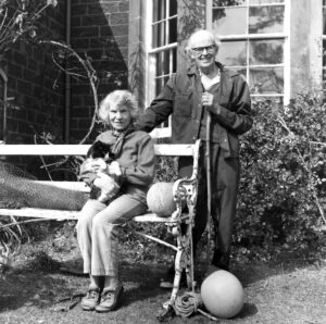 John Lorne Campbell and his wife, Margaret Fay Shaw outside their home on Canna. Photograph: NTS NO F41 JLC and MFS