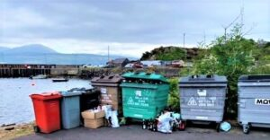 The overflowing recycling bins are causing concern in Carradale.