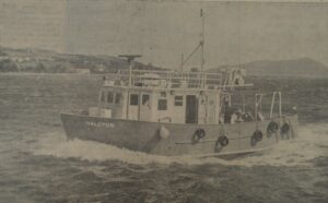 In 1971: The fisheries research vessel Halcyon steams up Campbeltown Loch after her launch from the Campbeltown Shipyard. The boat, presently undergoing sea trials, is expected to sail to Glasgow on Monday, where she will be loaded onto a freighter and shipped to Mombasa. From there she will go 800 Miles overland to Lake Rudolf [now Lake Turkana], Kenya, and will carry out a two-year research project.
