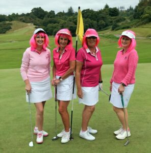 Adding a touch of glamour to the John MacEachen Memorial golf day are Christine Cameron, Mary Plunkett, Maureen Devine and Louise MacLeod, The Seafarm Mermaids aka Pink Ladies!