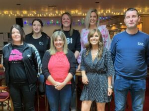 Most of the hardy people who rose to the trig challenge. Back row, from left: Kelly McSporran, Michelle Morkel, Jacqueline McCallum. Front: Kerry Hastie, Elaine Ross, Karen Cairns and Derek Brown. Mark Wasson, Stephanie Brodie and Gemma Downie are missing from the photograph.